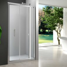 Merlyn 6 Series Bi-Fold Shower Door 700mm Wide With 215mm Inline Panel - 6mm Glass