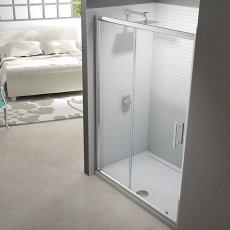 Merlyn 6 Series Sliding Shower Door with Tray 1100mm Wide - Clear Glass