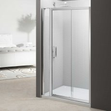 Merlyn 6 Series Sliding Shower Door 1000mm Wide and 140mm Inline Panel - 6mm Glass