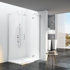Merlyn 6 Series Frameless Inline Hinged Shower Door with Mstone Tray 900mm Plus Wide - 6mm Glass