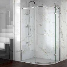 Merlyn 8 Series Frameless Offset Quadrant Shower Enclosure 900mm x 760mm - 8mm Glass
