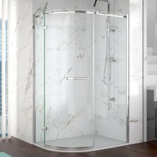 Merlyn 8 Series Frameless Offset Quadrant Shower Enclosure with LH Tray 1000mm x 800mm 8mm Glass