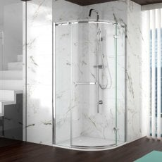 Merlyn 8 Series Frameless Quadrant Shower Enclosure with Tray 900mm x 900mm - 8mm Glass