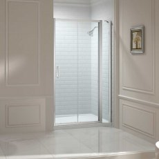 Merlyn 8 Series Sliding Shower Door 1500mm Wide and 150mm Inline - 8mm Glass