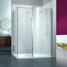 Merlyn 8 Series Swivel Walk-In Enclosure with End Panel and Tray - 1600mm x 800mm - Clear Glass