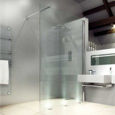 Merlyn 8 Series Wet Room Glass Panel with Tray, 1200mm Wide, Clear Glass