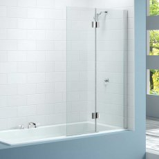 Merlyn 2-Panel Hinged Bath Screen, 1500mm High x 900mm Wide, Right Handed - Clear Glass