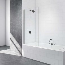 Merlyn Black Square Fixed Bath Screen 1500mm H x 800mm Wide - 8mm Glass