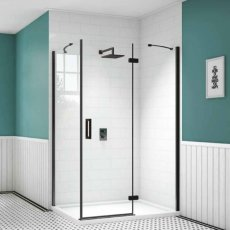 Merlyn Black Frameless Inline Hinged Shower Door 1400mm Wide - 8mm Glass