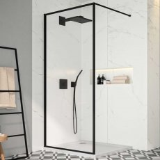Merlyn Black Framed Wet Room Glass Panel 800mm Wide - 8mm Glass