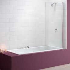 Merlyn Mbox Single Square Bath Screen, 1500mm High x 800mm Wide, Clear Glass