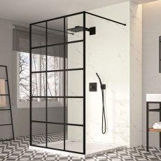 Merlyn Black Squared Double Entry Showerwall 1200mm Wide 8mm Glass - Excluding Tray