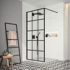 Merlyn Black Squared Showerwall 900mm Wide 8mm Glass - Excluding Tray