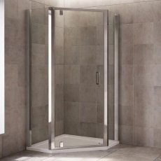 Mira Leap Pivot Door Pentagonal Shower Enclosure, 1200mm x 900mm, 6mm Glass