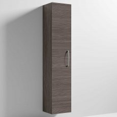 Nuie Athena Wall Hung 1-Door Tall Unit 300mm Wide - Brown Grey Avola
