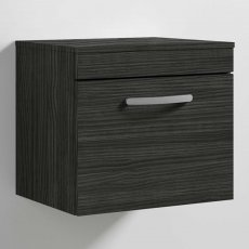 Nuie Athena Wall Hung 1-Drawer Vanity Unit and Worktop 500mm Wide - Hacienda Black