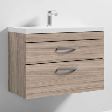 Nuie Athena Wall Hung 2-Drawer Vanity Unit with Basin 1 Driftwood - 800mm Wide