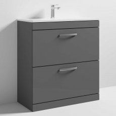 Nuie Athena Floor Standing 2-Drawer Vanity Unit with Basin-2 800mm Wide - Gloss Grey