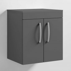 Nuie Athena Wall Hung 2-Door Vanity Unit and Worktop 500mm Wide - Gloss Grey