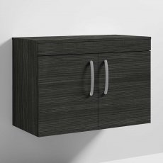 Nuie Athena Wall Hung 2-Door Vanity Unit and Worktop 800mm Wide - Hacienda Black