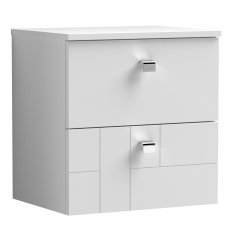 Nuie Blocks Wall Hung 2-Drawer Vanity Unit with Worktop 500mm Wide - Satin White