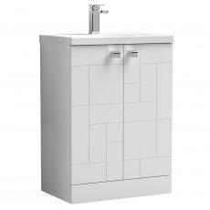 Nuie Blocks Floor Standing 2-Door Vanity Unit with Basin-1 600mm Wide - Satin White
