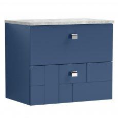 Nuie Blocks Wall Hung 2-Drawer Vanity Unit with Grey Worktop 600mm Wide - Satin Blue