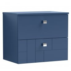Nuie Blocks Wall Hung 2-Drawer Vanity Unit with Worktop 600mm Wide - Satin Blue