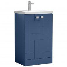 Nuie Blocks Floor Standing 2-Door Vanity Unit with Basin-1 500mm Wide - Satin Blue