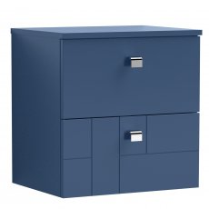 Nuie Blocks Wall Hung 2-Drawer Vanity Unit with Worktop 500mm Wide - Satin Blue