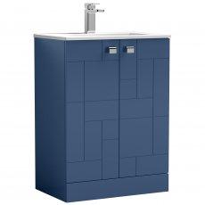 Nuie Blocks Floor Standing 2-Door Vanity Unit with Basin-2 600mm Wide - Satin Blue