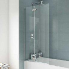 Nuie Ella Straight Hinged Bath Screen, 1400mm High x 745mm Wide, 5mm Glass