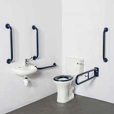 Nymas Close Coupled Disabled Toilet Doc M Pack White - Dark Blue Grab Rails