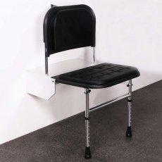Nymas Doc M Padded Shower Seat with Polished Frame - Black
