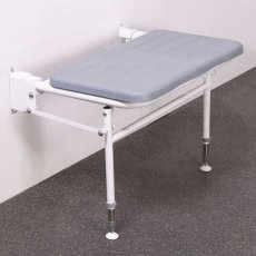 Nymas Extra Wide Wall Mounted Padded Shower Seat with Legs - Grey