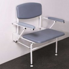 Nymas Extra Wide Wall Mounted Padded Shower Seat with Legs Back and Arms - Grey