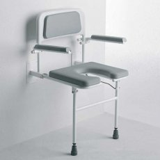 Nymas Horseshoe Wall Mounted Padded Shower Seat with Legs Back and Arms - Grey