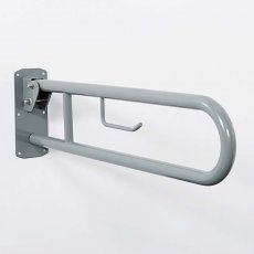 Nymas Lift and Lock Hinged Grab Rail with Roll Holder 800mm Length - Grey