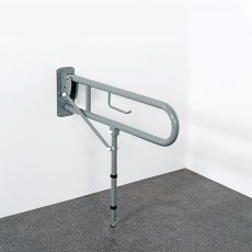 Nymas Lift and Lock Hinged Grab Rail with Toilet Roll Holder and Leg 800mm Length - Grey