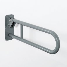 Nymas Stainless Steel Lift and Lock Hinged Grab Rail 650mm Length - Grey