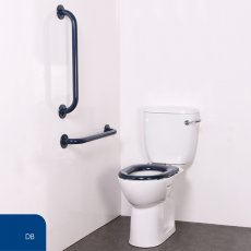 Nymas Nyma PRO Close Coupled Toilet Doc M Pack White - 2 x Dark Blue Grab Rails
