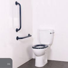 Nymas Nyma PRO Close Coupled Toilet Doc M Pack White - 2 x Dark Grey Grab Rails