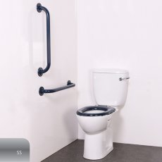 Nymas Nyma PRO Close Coupled Toilet Doc M Pack White - 2 x Satin Grab Rails