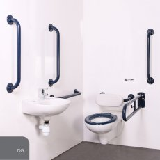 Nymas Nyma PRO Wall Hung Doc M Pack Concealed Fixings White - 5 x Dark Grey Grab Rails
