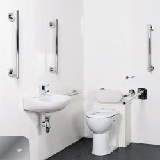 Nymas Nyma STYLE Luxury Close Coupled Doc M Pack and Ring Seat White - 5 x Polished Grab Rails