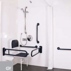 Nymas NymaPRO Doc M Shower Pack White with Concealed Valves and Grey Rails