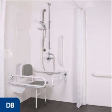 Nymas NymaPRO Doc M Shower Pack White with Exposed Valves and Dark Blue Rails