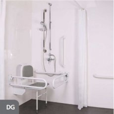 Nymas NymaPRO Doc M Shower Pack White with Exposed Valves and Dark Grey Rails