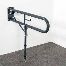 Nymas NymaPRO Trombone Lift and Lock Hinged Grab Rail with Leg and Roll Holder 550mm Length - Dark Grey