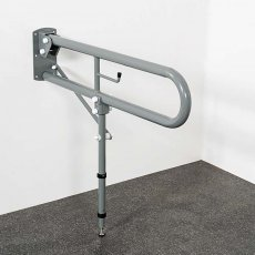 Nymas NymaPRO Trombone Lift and Lock Hinged Grab Rail with Leg and Roll Holder 550mm Length - Grey